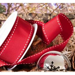 40mm Red Stitched Grosgrain Ribbon