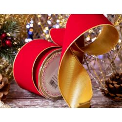 63mm wide wired red velvet ribbon with gold lame reverse