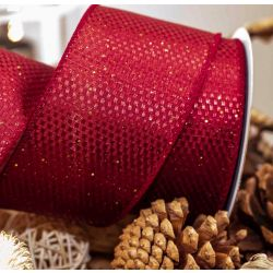 Textured Wire Edged Ribbon in Burgundy with Gold Sparkle 63mm x 10yrds