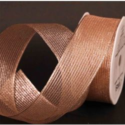 Rose Gold Wired Metallic Mesh Ribbon 38mm x 10m