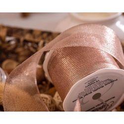 Rose Gold Wired Metallic Mesh Ribbon 63mm x 10m