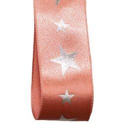 Rose Gold Satin Ribbon With Silver Star Print.