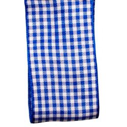 Gingham Ribbon By Berisfords in Royal Blue (Colour 12) - available in 5mm - 40mm widths