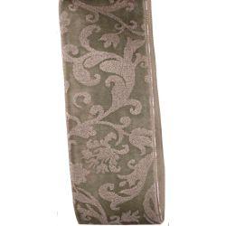 38mm sage green printed velvet ribbon