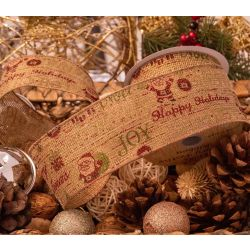Santa Happy Christmas Hessian Ribbon 63mm x10 yrds