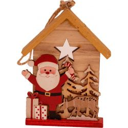 wooden house plaque with Santa and deer