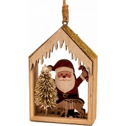 Santa & Wooden House With Glitter Roof