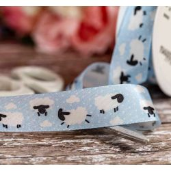 Sheep Themed 25mm Taffeta Ribbon