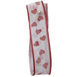 White Sheer Ribbon With Hearts 15mm x 20m