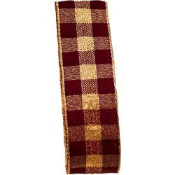 Burgundy and gold lame check ribbon in a 25mm width