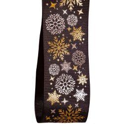 40mm Black taffeta ribbon with silver and gold snowflake design