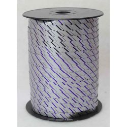 7mm Silver Curling Ribbon With Blue Stripes x 250yrds