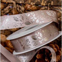 25mm Exclusive Silver Holly Design On Silver Satin Ribbon