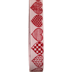 16mm White Grosgrain With Sketched Heart Print