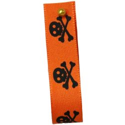 Skull and Cross Bones Ribbon In Orange and Black  15mm