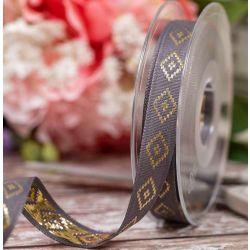 Diamond Taffeta Ribbon in Charcoal with Gold Diamond Pattern 15mm x 20m. Art 60182