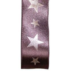 25mm Smoked Grey Satin Ribbon With Silver Star. Print
