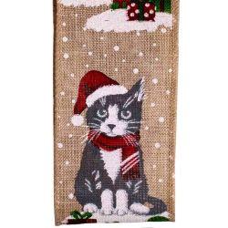 Snow cat Christmas Ribbon 63mm x 10yard