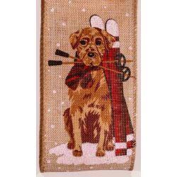 Snow Dog Burlap Christmas Ribbon