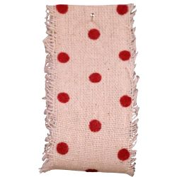 Burlap Frayed Edge Vintage Red Polka Dot Ribbon 38mm x 10m
