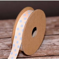 Spotty Grosgrain Natural/Sky 15mm x 4m
