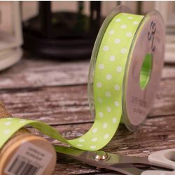 Spring Green Polka Dot on light weight taffeta 25mm x 20m