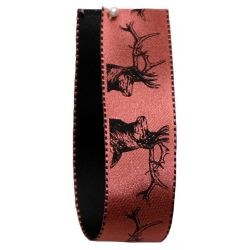 Stag Print Ribbon In Dusky Pink 25mm x 20m