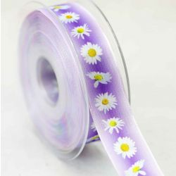 25mm Wired Edged Taffeta Ribbon With Daisy Style Floral Print