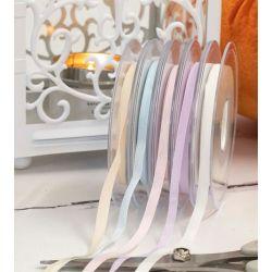 Taffeta ribbon 5 reels of pastel shades 6mm x 20m each
