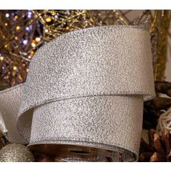 63mm wired edged textured silver christmas ribbon