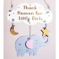 Thank Heaven For Little Girls plaque With Elephant