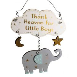 Thank Heaven For Little Boys Hanging Plaque
