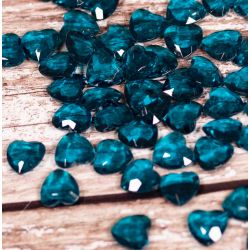 Heart Shaped Faceted Acrylic Gems in Turquoise