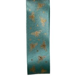 25mm Turquoise Blue Ribbon With Gold Bee Design