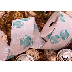Turquoise Bauble Christmas Ribbon 63mm x 9m