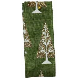 Glitter Christmas Tree Ribbon In Green - 38mm x 10yrds