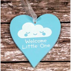 Blue Wooden Heart With Welcome Little One In White