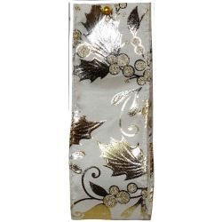 Gilded Mistletoe and Holly Ivory, Gold and Silver Wired Edge Ribbon Article 644649