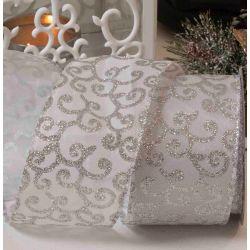 63mm white and silver filigree design ribbon