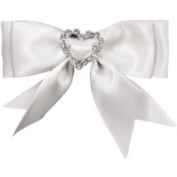White Bows With Diamante Heart