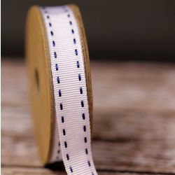 Stitched Grosgrain in White and Navy by Berisfords Ribbons