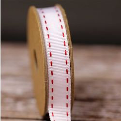 Stitched Grosgrain in White and Red by Berisfords Ribbons