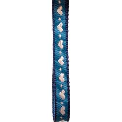 10mm woven blue ribbon with white woven hearts