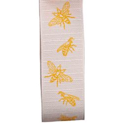 Natural Looking White Ribbon With Bee Design 30mm x 20m