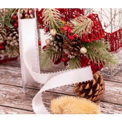 25mm white picot edged satin ribbon