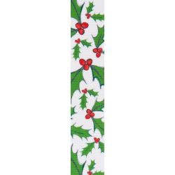 White Ribbon With Holly Print Design