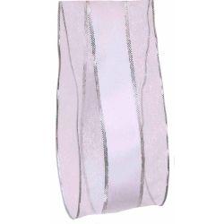black and silver striped sheer and satin ribbon