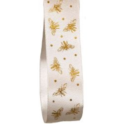 White Satin Ribbon With Gold Bee Design By Berisfords