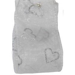 50mm Wired White Sheer Ribbon With Silver Glitter Hearts