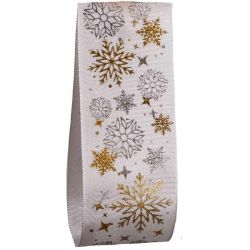 White Taffeta With Silver and gold snowflakes